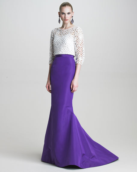 Silk Faille Fishtail Skirt