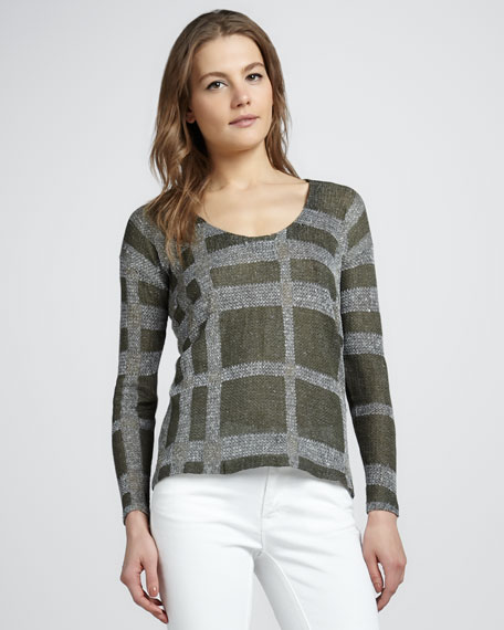 Check Silk-Linen Sweater
