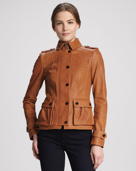 Short Leather Jacket with Waist Pockets