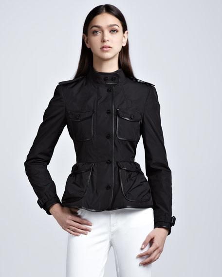 Leather-Trim Taffeta Shirt Jacket