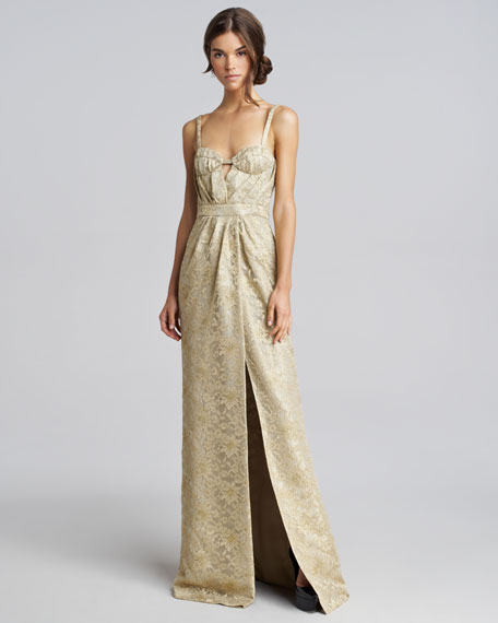 Metallic Lace Keyhole Gown