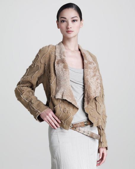 Intarsia Shearling Drape Jacket