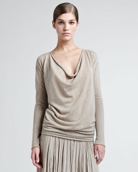Drape-Neck Cashmere Top