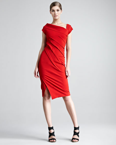 Structured Matte Jersey Cap-Sleeve Dress