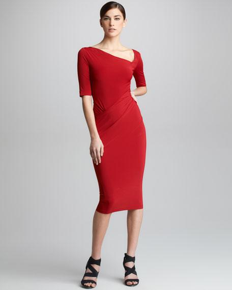 Half-Sleeve Draped Jersey Dress
