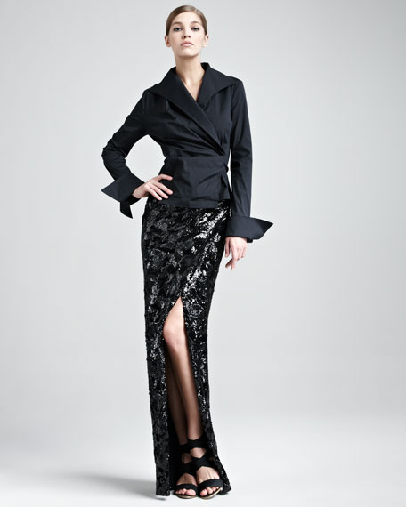 Swirl-Sequin Long Scissor Skirt