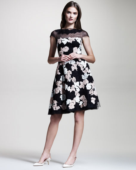 Floral-Lace Point d'Esprit Dress