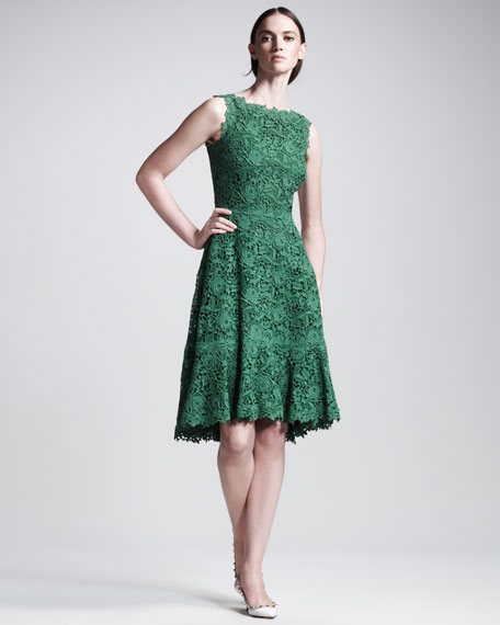 Valentino Floral Macramé Dress, Emerald