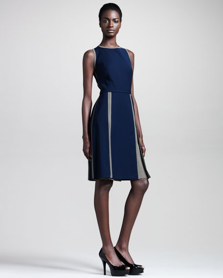 Sleeveless Dress with Inverted Pleats