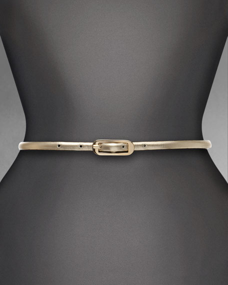 Skinny Metallic Napa Leather Belt, Soft Gold