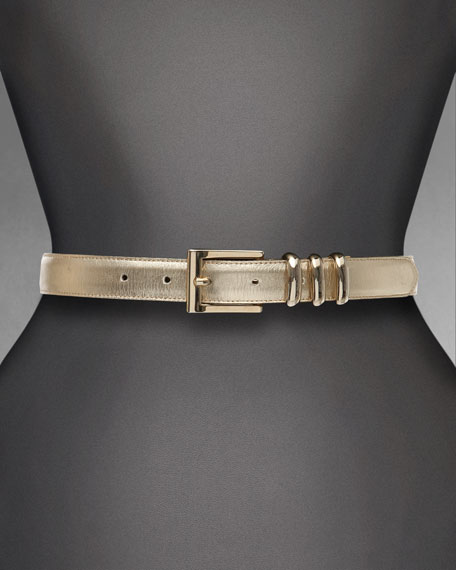 Metallic Napa Leather Belt, Soft Gold