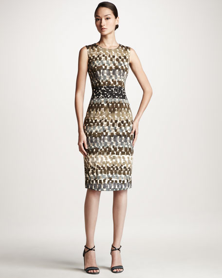 Watercolor-Print Sheath Dress