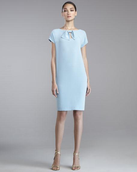 Luxe Crepe Cap-Sleeve Dress, Blue Topaz