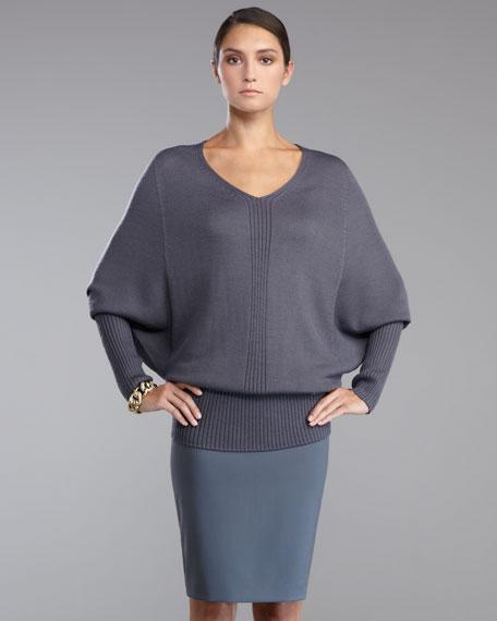 Venetian Wool Pencil Skirt, Pewter