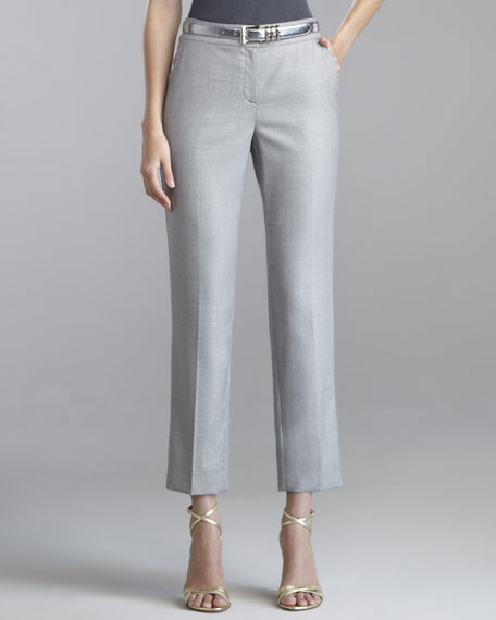 Emma Cropped Pants, Pewter/White