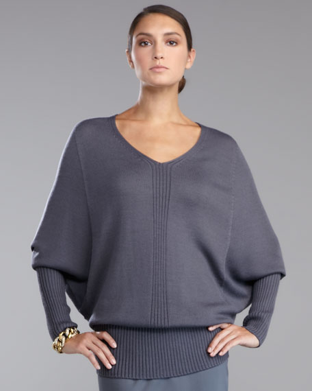 Batwing-Sleeve V-Neck Sweater, Pewter