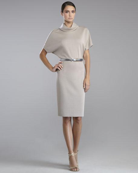Milano Knit Folded-Collar Dress