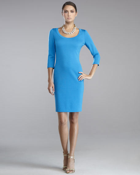 Milano Knit Scoop-Neck Dress, Peacock Blue