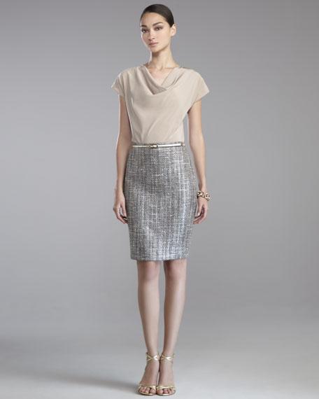 Metallic Space-Dye Tweed Skirt
