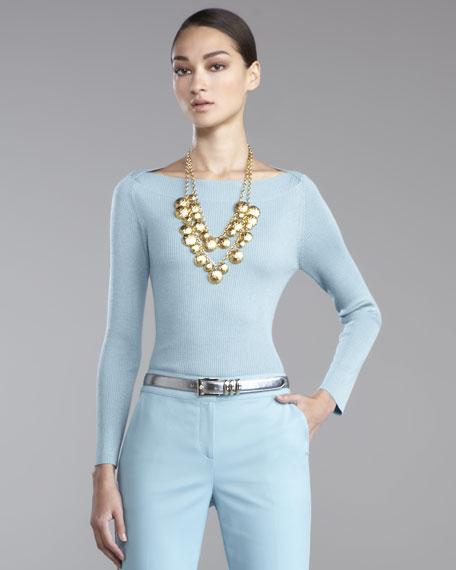 Fine-Gauge Bateau-Neck Sweater, Blue Topaz