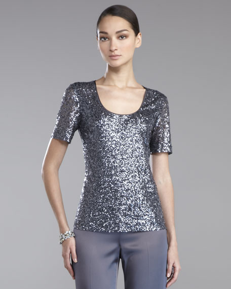 Sequined Short-Sleeve Blouse, Pewter