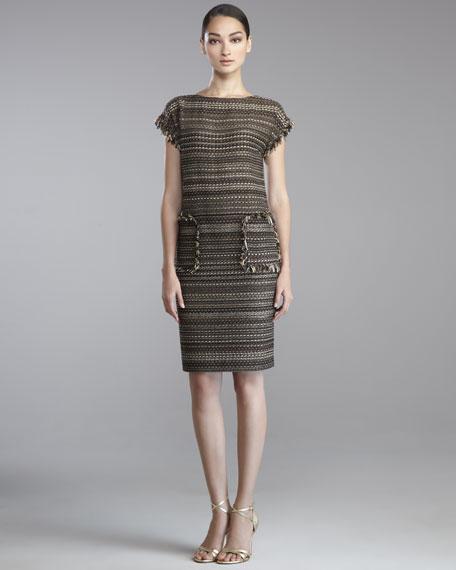 Striped Tweed Cap-Sleeve Shift Dress