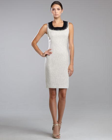 Needlepunch-Trim Tweed Dress