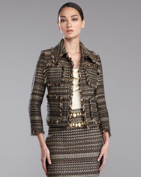 Striped Tweed Jacket, Caviar