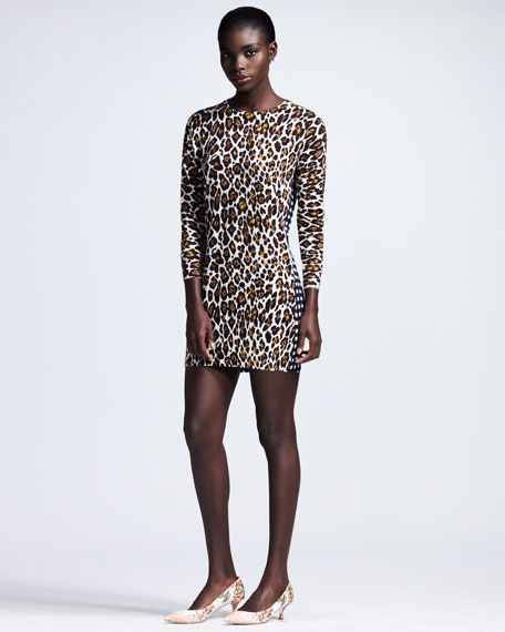 Leopard-Front Check-Back Shift Dress