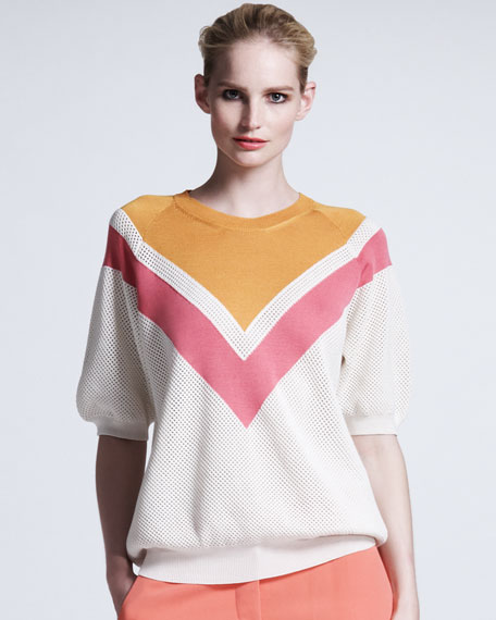 Chevron Mesh Sweater, Bright Pink/White