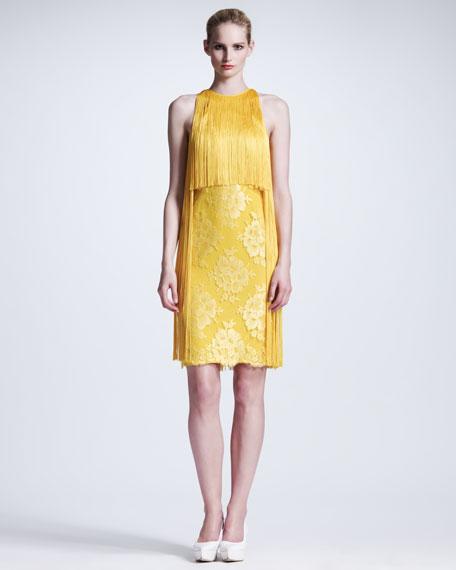Fringed Halter Lace Dress, Citrus