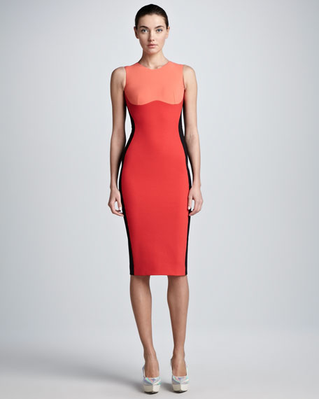 Contoured Colorblock Sheath Dress, Coral