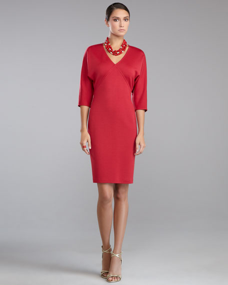 Milano Knit V-Neck Batwing-Sleeve Dress, Berry