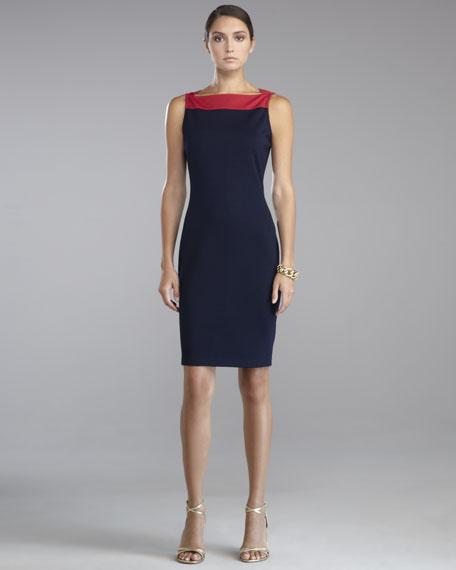 Milano Knit Sleeveless Sheath Dress, Berry