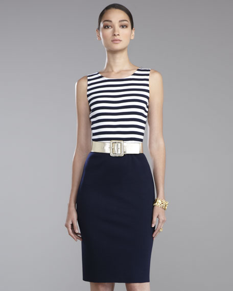 Striped Milano-Bodice Sheath Dress
