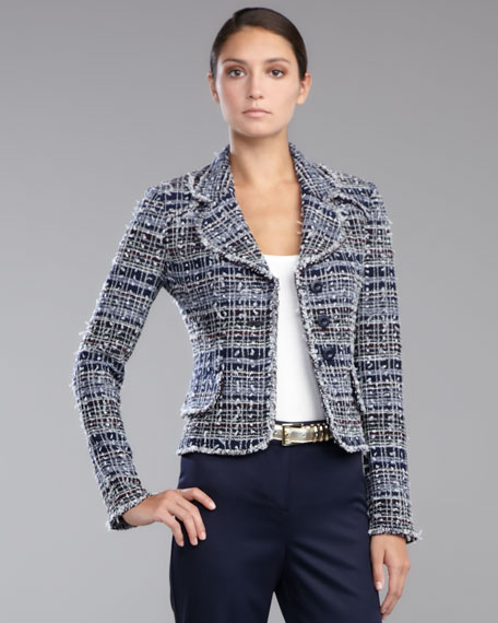 Sutton Tweed Jacket, Navy/Multicolor