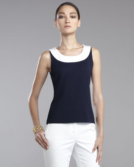 Milano Knit Shell, Navy/Bright White