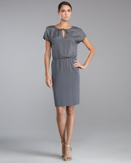 Dot-Print Crepe de Chine Dress