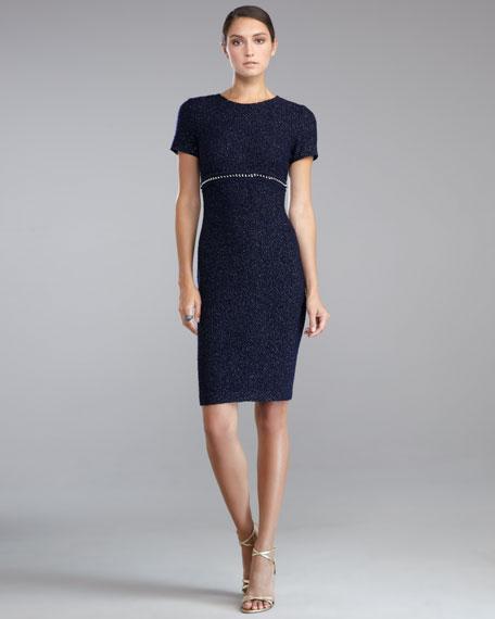 Shimmer Boucle Crewneck Dress, Navy