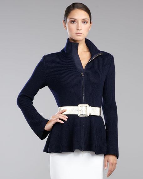 Ribbed Zip-Front Peplum Sweater