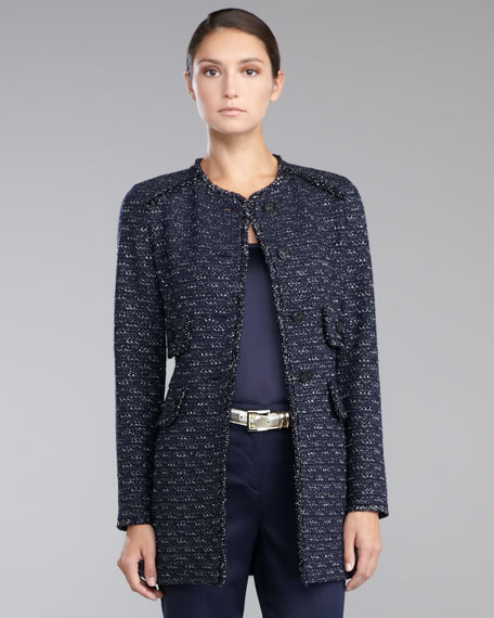 Metallic Knit Topper Jacket