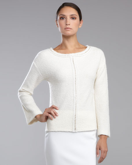 Shimmer Boucle Pullover, Cream