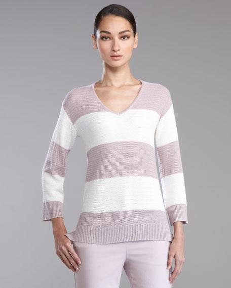 Striped Crochet V-Neck Sweater, Orchid/White