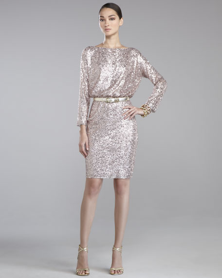 Sequined Tulle Dress, Orchid