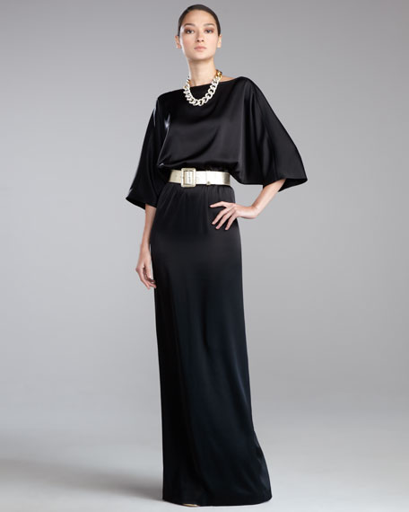 Liquid Satin Bateau-Neck Gown, Caviar