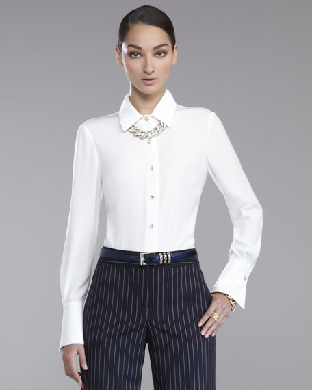 Luxe Crepe Blouse, White