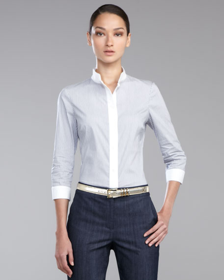 Pinstriped Pique Shirt, White/Navy
