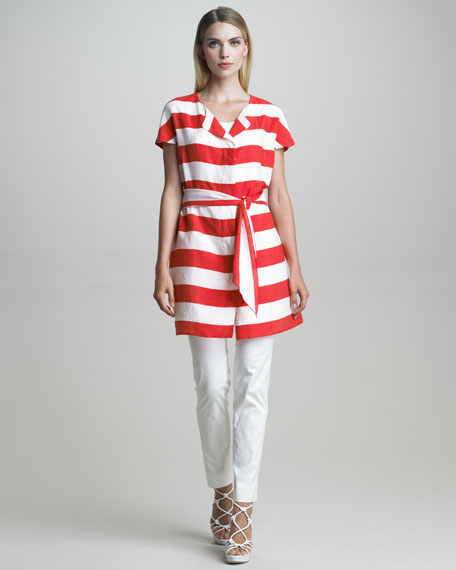 Belted Nautical-Striped Tunic