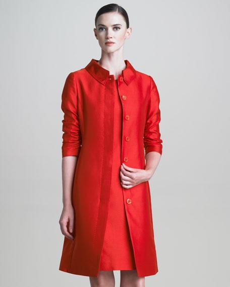 Ruched-Sleeve Gazar Coat