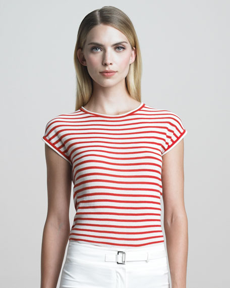Cap-Sleeve Striped Knit Top, Grenadine